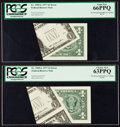 Error Notes:Foldovers, Fr. 1909-L $1 1977 Federal Reserve Notes. Two Examples. PCGS GemNew 66PPQ and Choice New 63PPQ.. ... (Total: 2 notes)