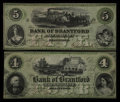 Canadian Currency: , Brantford, ON- Bank of Brantford $4, $5 Nov. 1, 1859 Ch #40-10-02-06, 40-10-02-08. ... (Total: 2 notes)
