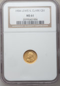 Commemorative Gold: , 1904 G$1 Lewis and Clark MS61 NGC. NGC Census: (57/1043). PCGSPopulation (47/1661). Mintage: 10,025. Numismedia Wsl. Price...