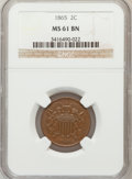 Two Cent Pieces: , 1865 2C MS61 Brown NGC. NGC Census: (49/1576). PCGS Population(5/522). Mintage: 13,640,000. Numismedia Wsl. Price for prob...