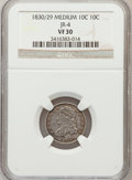Bust Dimes, 1830/29 10C Medium VF30 NGC. JR-4. NGC Census: (1/33). PCGSPopulation (3/28). Mintage: 510,000. Numismedia Wsl. Price for...