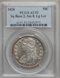 Bust Half Dollars: , 1828 50C Square Base 2, Small 8, Large Letters AU53 PCGS. PCGSPopulation (45/213). NGC Census: (21/126). (#6151)...