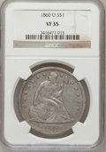 Seated Dollars: , 1860-O $1 VF35 NGC. NGC Census: (11/661). PCGS Population(29/1044). Mintage: 515,000. Numismedia Wsl. Price for problemfr...