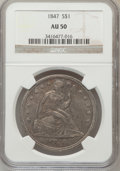 Seated Dollars: , 1847 $1 AU50 NGC. NGC Census: (30/249). PCGS Population (75/221).Mintage: 140,750. Numismedia Wsl. Price for problem free ...