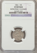 Seated Dimes: , 1866-S 10C -- Improperly Cleaned -- NGC Details. XF. NGC Census:(2/18). PCGS Population (6/21). Mintage: 135,000. Numismed...