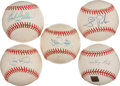 Autographs:Bats, Baseball Greats Single Signed Baseballs Lot of 5....