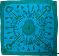 Luxury Accessories:Accessories, Hermes Blue, Green, & Turpuoise Keys Silk Shawl Scarf. ...