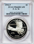 Modern Issues: , 1994-P $1 P.O.W. Silver Dollar PR66 Deep Cameo PCGS. PCGSPopulation (20/2144). NGC Census: (0/29). Mintage: 220,100.Numis...