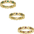 Luxury Accessories:Accessories, Chanel Set of 3 Sapphire, Ruby, and Emerald 18k Gold Coco Rings....