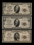 National Bank Notes:Missouri, Saint Louis, MO - $10 1929 Ty. 1 The Telegraphers NB Ch. # 12389;$10 1929 Ty. 1 The Boatmen's NB Ch. # 12916; $5 1... (Total: 3notes)