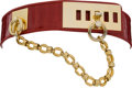 Luxury Accessories:Accessories, Judith Leiber Red Crocodile Belt with Gold Ring and Chain Closure.... (Total: 2 Items)