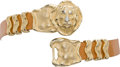 Luxury Accessories:Accessories, Judith Leiber Tan Lizard Belt with Gold Lion Head Buckle. ...(Total: 2 Items)
