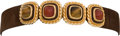Luxury Accessories:Accessories, Judith Leiber Brown Suede Waist Belt with Multicolor Cabochon and Cat's Eye Gemstone Buckle. ... (Total: 2 Items)