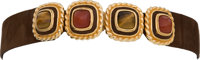 Judith Leiber Brown Suede Waist Belt with Multicolor Cabochon and Cat's Eye Gemstone Buckle