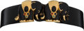 Luxury Accessories:Accessories, Judith Leiber Black Lizard Waist Belt with Elephant and MulticolorCabochon Buckle. ... (Total: 2 Items)