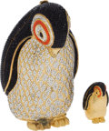 Luxury Accessories:Bags, Set of Two: Judith Leiber Full Bead Multicolor Penguin MinaudiereEvening Bag & Pillbox. ... (Total: 2 Items)