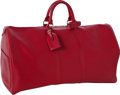 Luxury Accessories:Travel/Trunks, Louis Vuitton Red Epi Leather Keepall 55 Overnight Bag. ...