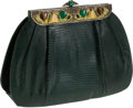 Luxury Accessories:Bags, La Jeunesse Emerald Green Lizard Clutch with Cabochon FrameClosure. ...