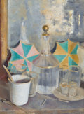 Impressionism & Modernism:post-Impressionism, GIOVANNI ROMAGNOLI (Italian, 1893-1976). Still Life with Bottleand Glasses, 1929. Oil on canvas. 19 x 14 inches (48.3 x...