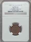 Civil War Merchants, (1861-65) J. Pearce, Ligonier, IN, F-550G-3a, R.6, MS63 Brown NGC..Die incorrectly engraved as MICH.. From The Clifton A....