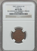 Civil War Merchants, 1863 Blackman & Dibble, Adrian, MI, F-5A-1a, R.4, MS63 Brown NGC.. Incomplete Planchet.. Purchased from L. Dodd (8/28/1938...