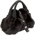 Luxury Accessories:Bags, Fendi Black Fox, Velvet, and Snakeskin Limited Edition Spy Bag. ...