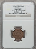 Civil War Merchants, 1863 J.A. Castle, Adrian, MI, F-5C-1a, R.6, MS63 Brown NGC.. Purchased from George Fuld (9/17/1958) for $2.50.. From T...