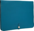 Luxury Accessories:Accessories, Hermes Blue Jean Clemence Leather Large Dogon Computer Case withPalladium Hardware. ...