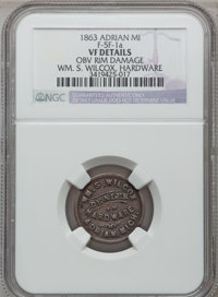 1863 Wm. S. Wilcox, Adrian, MI, F-5F-1a, R.9 - Obverse Rim Damage - NGC Details. VF. Purchased from J. Canfield (2/13/19...