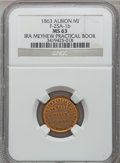 Civil War Merchants, 1863 Albion Commercial College, Albion, MI, F-25A-1b, R.4, MS63NGC.. From The Clifton A. Temple Collection....