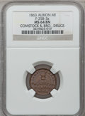 Civil War Merchants, 1863 Comstock & Bro., Albion, MI, F-25B-3a, R.6, MS64 BrownNGC.. From The Clifton A. Temple Collection....