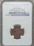 Civil War Merchants, 1863 D.W. Richardson, Almont, MI, F-35A-1a, R.8 - Obverse PlanchetFlaw - NGC Details. Unc.. Purchased from J. Canfield (2...