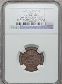 1863 D.W. Richardson, Almont, MI, F-35A-1a, R.8 - Obverse Planchet Flaw - NGC Details. Unc. Purchased from J. Canfield (...