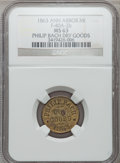 Civil War Merchants, 1863 Philip Bach, Ann Arbor, MI, F-40A-2b, R.6, MS63 Brown NGC..Purchased from J. Barnet (9/26/1938) for 50 cents..F...