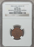 Civil War Merchants, 1863 Dean & Co., Ann Arbor, MI, F-40B-1a, R.3, MS62 Brown NGC..From The Clifton A. Temple Collection....
