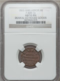 1863 Dean & Co., Ann Arbor, MI, F-40B-3a, R.9, AU53 Brown NGC. Late Die State. From The Clifton A. Temple Collection...