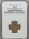 Civil War Merchants, 1863 Dean & Co., Ann Arbor, MI, F-40B-3b, R.9, MS62 NGC..Purchased from H. Rapp.. From The Clifton A. TempleCollecti...