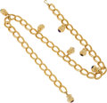 Luxury Accessories:Accessories, Judith Leiber Oversized Gold Chain Belt with Monkey and CabochonCharms. ... (Total: 2 Items)