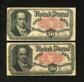Fractional Currency:Fifth Issue, Fr. 1381 50c Fifth Issue Two Issues Fine; VF. Both notes havepinholes.. ... (Total: 2 notes)