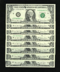 Error Notes:Ink Smears, Minor St. Louis Face Ink Smears.. Fr. 1907-H $1 1969D FederalReserve Notes. Two Examples. Gem CU. Fr. 1908-H $1 1974 ... (Total:8 notes)