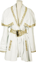 Music Memorabilia:Costumes, Tanya Tucker Stage Worn Leather Coat. This white leather coat with gold studs and matching belt, designed by Dangerous Threa... (Total: 1 Item)