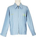 "Music Memorabilia:Memorabilia, Frank Sinatra/John Denver Harrah's Tahoe 1975 Tour Jacket. A light blue windbreaker with a ""Frank"" embroidered on the right ... (Total: 1 Item)"