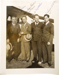 "Transportation:Aviation, Edwin Aldrin, Jimmie Mattern Signed Photograph, 8"" x 10"", circa1930s. Aldrin and Mattern pose with two foreign dignitaries ...(Total: 1 Item)"