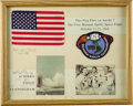 "Autographs:Celebrities, U.S. Flag Flown in Space Aboard Apollo 7, 6"" x 3.75"", affixed to a13.5"" x 10.75"" mat with the Apollo 7 patch. Matted with t...(Total: 1 Item)"