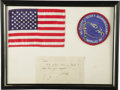 "Autographs:Celebrities, U.S. Flag Flown in Space Aboard Apollo 9, 5.75"" x 3.75"", affixedwith the Apollo 9 patch to an 11"" x 8"" mat. Also on the mat...(Total: 1 Item)"
