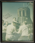 """Autographs:Celebrities, Walter Schirra Large Signed Color Photograph, 10"""" x 13"""", framed to11"""" x 14"""". Signed """"Best wishes, Joe/ 'One up' at a time...(Total: 1 Item)"""