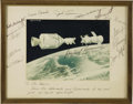 "Autographs:Celebrities, Apollo-Soyuz Signed Color Docking Photograph, 9.25"" x 7"" matted to 11.5"" x 10.5"", signed ""Tom Stafford,"" ""Vance Brand,... (Total: 1 Item)"