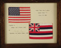 "Autographs:Celebrities, Project Mercury Flown U.S. and Hawaii Flags. 5.75"" x 4"" U.S. flagand 6.25"" x 4"" Hawaii state flag affixed to 13.25"" x 10.25...(Total: 1 Item)"