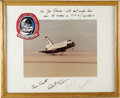 "Autographs:Celebrities, Columbia Spacelab Large Signed Color Landing Photograph, 13.25"" x10.25"", matted to 19.5"" x 15.5"". Inscribed on mat ""For J...(Total: 1 Item)"
