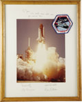 """Autographs:Celebrities, Challenger STS-6 Large Signed Color Launch Photograph, 10.5"""" x13.5"""", matted to 15.5"""" x 19.5"""". Inscribed on mat """"To Joe -/...(Total: 1 Item)"""